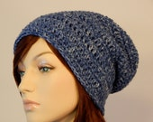 Ready to Ship, Denim Blue with White Specks Slouch Hat, Blue and White Slouch Beanie, Womens Hat, Teen Slouchy Hat, MarlowsGiftCottage