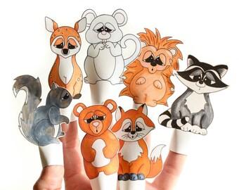 DIY Printable Finger Puppets - Woodland Animals.