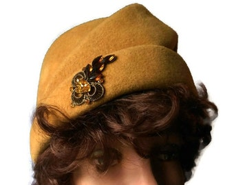 Mustard 1940s turban hat felt with rhinestone attached embellishment