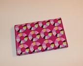 Card Wallet - Pink Purple Aqua Yellow Modern Circle Print - Credit Card Holder, Student ID, Gift Card, Fabric Card Wallet