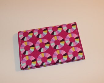 Card Wallet - Pink Purple Aqua Yellow Modern Circle Print - Credit Card Holder, Student ID, Gift Card, Fabric Card Wallet