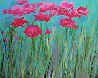 """Art sale original huge painting on canvas of field of pink flowers and fresh grass 54"""" x 42"""""""