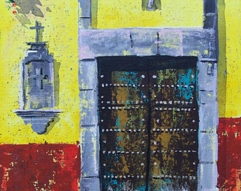 "Original painting of old door with cross in San Miguel de Allende Mexican town original art acrylic on board 11 ""x 14"""