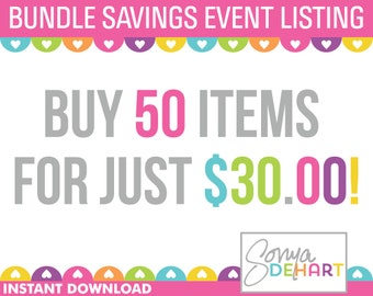 Clipart Sale Bundles and Digital Paper Buy ANY 50 Items Sale Royalty Free Clip Art - Instant Digital Download