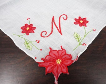Vintage Monogrammed Handkerchief N with Christmas Poinsettia - Madeira - Trembler