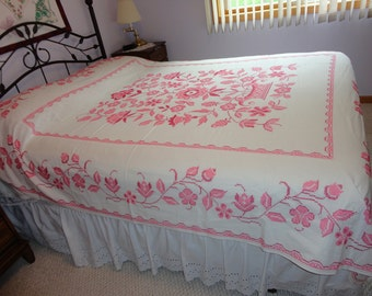 ALL Handmade Cross Stitched Bed Coverlet Shades of Rose Vintage