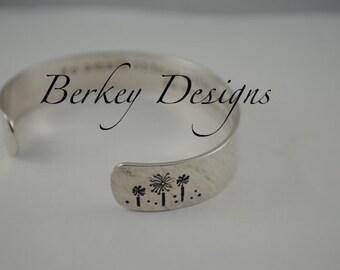 Custom Dandelion Secret Message Hand Stamped Bracelet- Personalized Bracelet