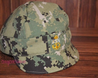 Personalized military cap, USN cap, Type iii hat, Baby seabee, Seabee