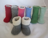 Cashmere sock booties 6 color choices Polartec fleece lining one size 6-12 months  RTS baby shoes