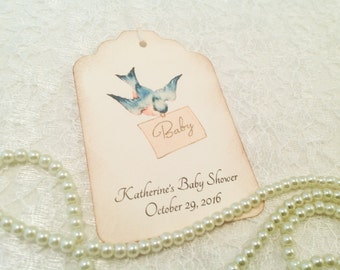 Baby Shower Thank You Tags-Bluebird wish tag gift tag- Favor Tags-Baby Gift Tags-Set of 12