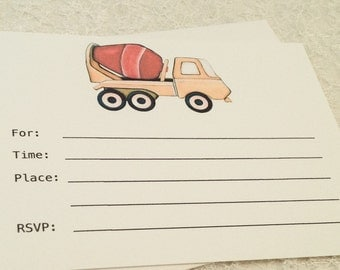 Birthday Party Invitations-Construction Dump Truck Car Fill in Invitation-Party Invitations for Boys Birthday Party-Set of 10