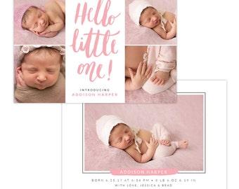 INSTANT DOWNLOAD - Photoshop Birth announcement template -  e1294
