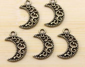 12 Crescent Moon Charms, Antique Bronze 17 x 12 mm - bz373