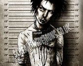 Sid Vicious, Punk, Low brow Art, Horror Art, Mugshot Art, Arrested Art Print hand Signed by Marcus Jones 16.5 x 11.7 inches