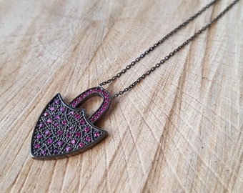 STERLING SILVER locked necklace/micro pave dyed  ruby/lock jewelry/Lock charm necklace .
