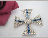Maltese Cross Brooch - Clear Blue Rhinestone - Rhodium 60's Setting