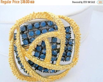 Blue Rhinestone Brooch -  Large Gold Tone  Pin - Japanned Setting