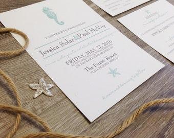 Seahorse and Starfish Destination Wedding Invitation