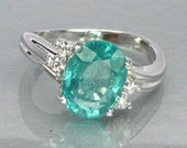 Sterling Silver 925 Ring Natural Blue Apatite Unheated Africa
