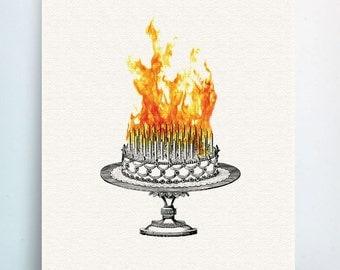 Funny sarcastic birthday card - Inferno Cake - Greeting Card - Cake on Fire Birthday Card