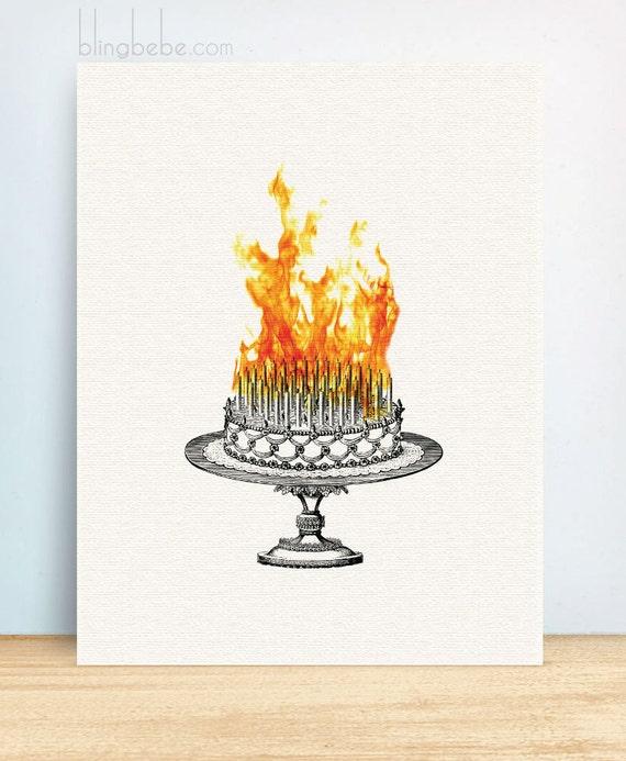 Funny sarcastic birthday card - Inferno Cake - Greeting Card - Cake on ...