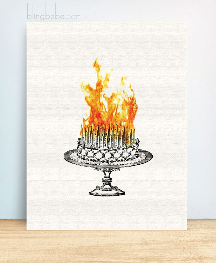 Funny Sarcastic Birthday Card Inferno Cake Greeting Card