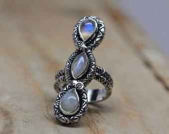 Silver Moonstone Rattlesnake Ring