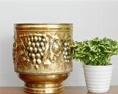 Vintage Brass Planter Embossed English Gold Metal Planter Rustic Cosmopolitan Boho Chic