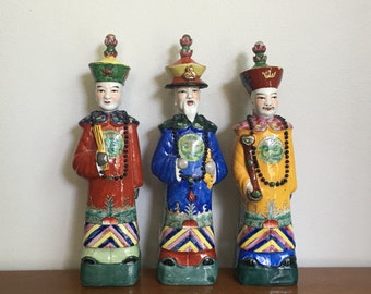 Vintage Chinese Emperor Figurines Qing Dynasty Statues Set of Three Generations  Fuk Luk Sau Chinese Decor