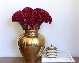 Vintage Brass Vase Gold Metallic Large Ribbed Vase Rustic Cosmopolitan Chic Fall Centerpiece
