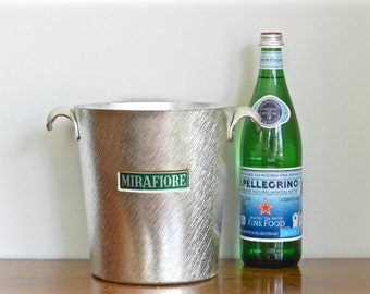 Vintage Champagne Bucket Wine Chiller Brushed Aluminum Kelly Green Placard Home Bar Serving