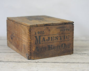 Antique Wood Crate Box Majestic Anti Rust Oil Shipping Crate