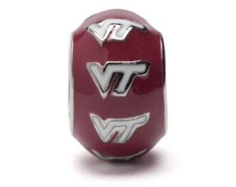 VT Hokies Stainless Steel Maroon Bead Charm