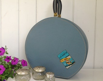 Vintage Round Train Case Hat Box Suitcase Blue Zipper with Blue Cloth Liner and Mirror