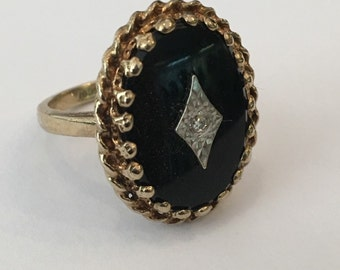 1940s 10k Gold Onyx and Diamond Ring