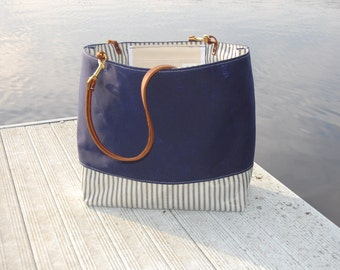 Navy Waxed Canvas Tote with Ticking and Leather Straps