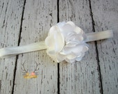 Petite White Headband with Satin & Tulle -  Baby Headband - Preemie Headband - White Satin - Satin Headband - Preemie - Headband