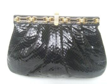 Sleek Black Snakeskin Gilt Trim Evening Bag