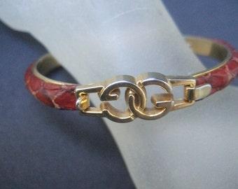 Exotic Brown Snakeskin G.G. Initial Italian Bracelet