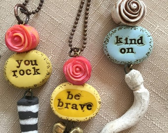 Handmade Word Bead Quote Rose Raku Signature Chain Layering Statement Necklace Jewelry by ZILLAS QUEEN