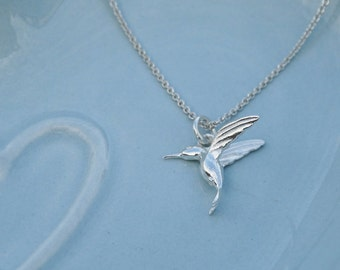 Tiny Silver Hummingbird Necklace - Sterling Silver