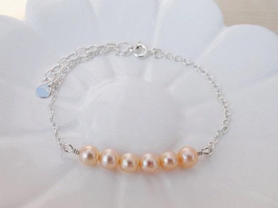 Pearl Bracelet - Sterling Silver - Peach Pearls - Bridesmaids