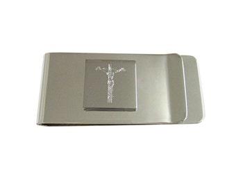 Engraved Religious Crucifix Cross Money Clip