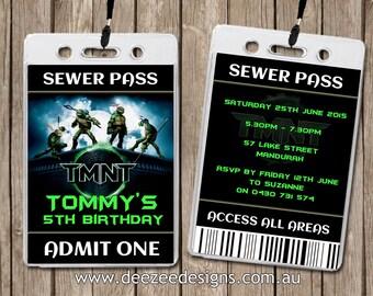 Teenage Mutant Ninja Turtles Personalised VIP Lanyard Invitations x 10