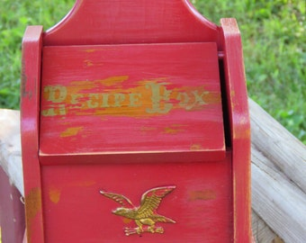 Red Wooden Recipe Box with Metal Eagle