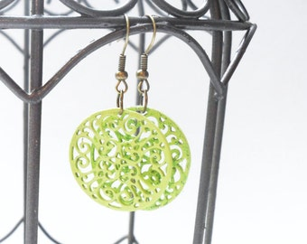 Neon Green Boho Earrings, Bright Green Modern Round Circle Filigree Earrings, fun and trendy gifts for teens and tweens
