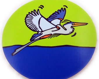 """Great Blue Heron - 16"""" Wooden Lazy Susan. Hand-painted on white birch."""
