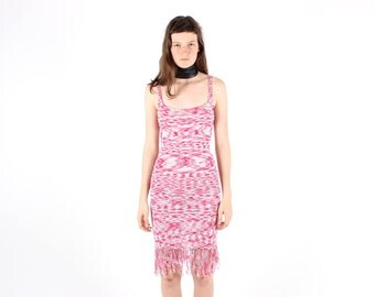 90s Boutique Knit Fringe Crochet Tank Bandage Bodycon Midi Dress w/ Fringe Tassel Trim