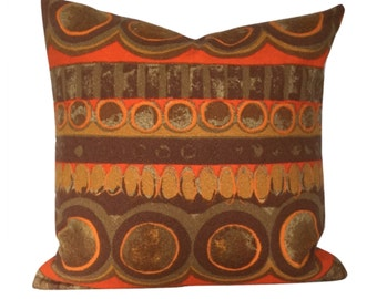 "Vintage 60s  70s Orange Fabric Cushion Cover / Retro Pillow Cover 18"" x 18"""