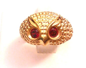 18K Gold over Sterling Silver Red CZ Eyes Owl Ring